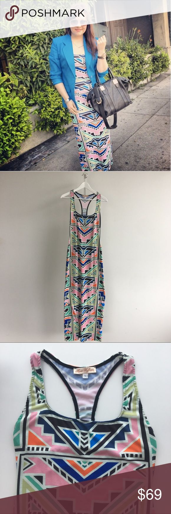 Mara Hoffman Aztec Print Tank Maxi Dress Multicolor print jersey maxi dress featuring a deep scoop neck and a racer back. Note condition of sticking on hem as well as wash wear. Please carefully review each photo before purchase as they are the best descriptors of the item. My price is firm. No trades. First come, first served. Thank you! :) Mara Hoffman Dresses Maxi