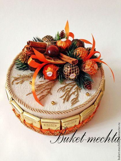"""Торт из конфет """"Новогодний"""" - рыжий,торт из конфет,торт на новый год,сладкий…"""