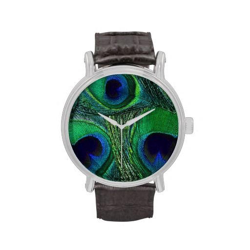 Personalizable, unisex, peacock feather watch in deep, saturated shades of green, teal, and blue. Great for every day wear and as memorable (and economical) attendant gifts for a peacock themed wedding. Easy to personalize with a monogram, name(s), date, or special message (simply add text in your choice of font and color) and choice of watch style and band. Other matching items (tie, cuff links, clutches, etc) are also available in this same pattern and in a variety of colors in the same…