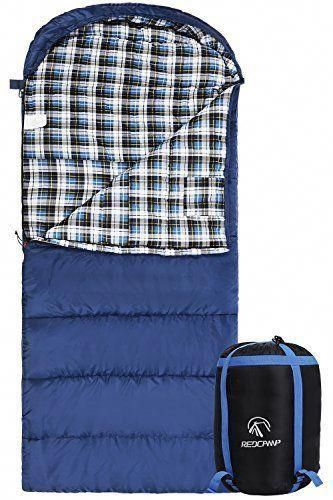 25a1b7b71f4 Cotton Flannel Sleeping Bag Adults Comfortable Envelope Compression Sack  Blue  REDCAMP