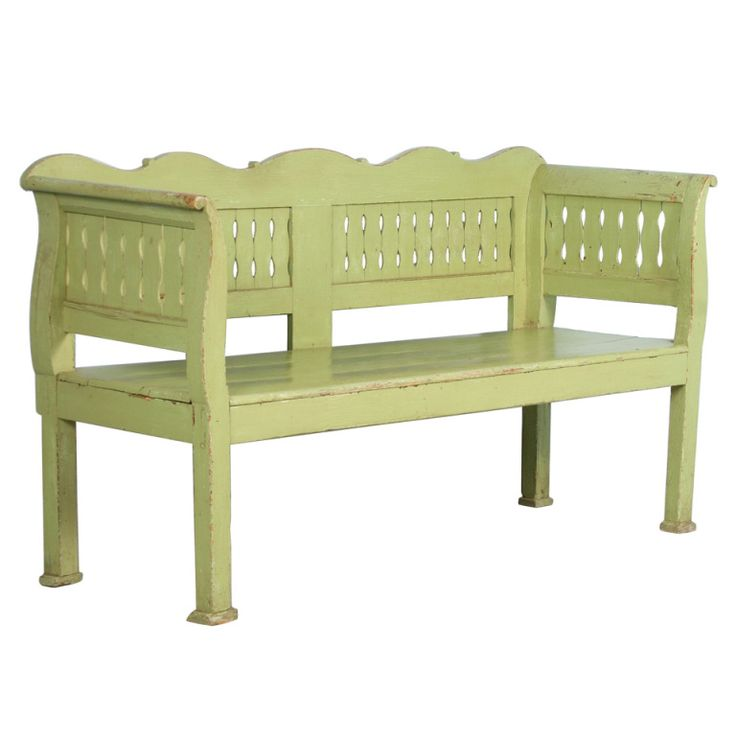 Antique Original Green Painted Romanian Bench, circa 1870 | From a unique collection of antique and modern benches at http://www.1stdibs.com/furniture/seating/benches/