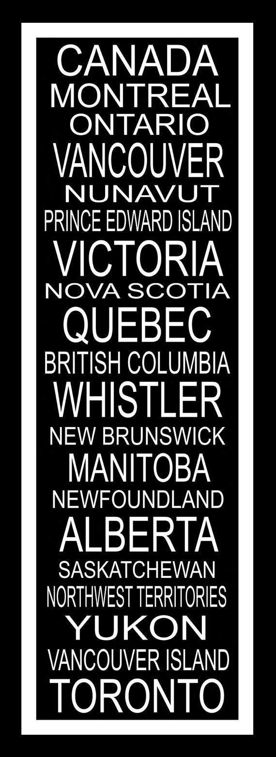 Places in my country.  Missing the capital of Canada, Ottawa!