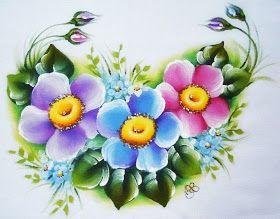 Pintura Em Tecido - Venha Aprender Pintura em Tecido: Pintura em Tecido Flor do Campo - Detalhe
