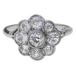 959 Platinum Diamond Daisy Cluster Ring