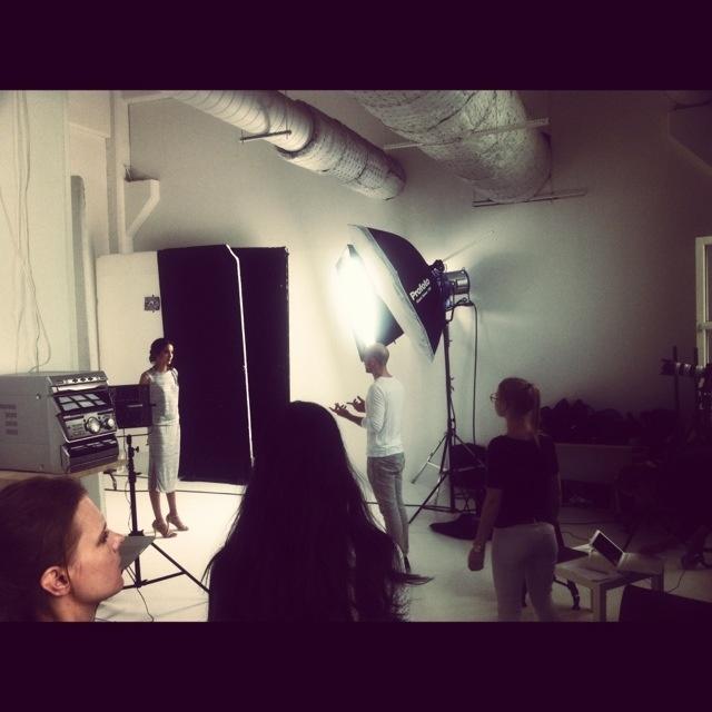 at the studio, shooting SS13