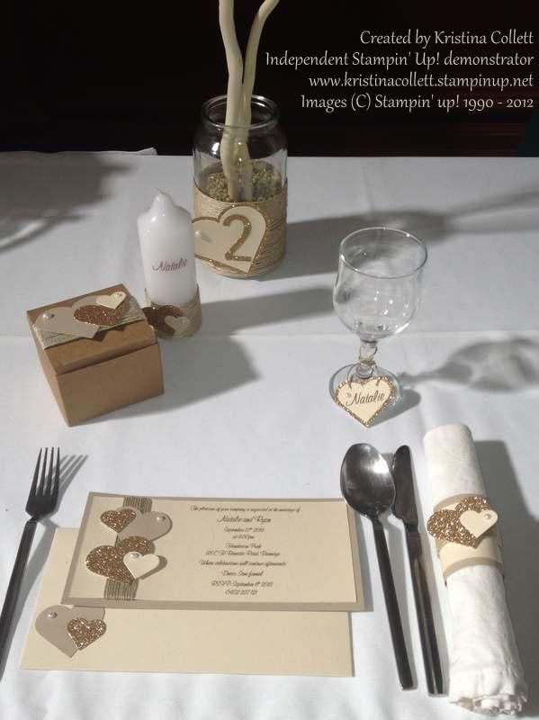 """""""Rustic hearts"""" Natural tones featuring pearls and hearts in gold glitter and vanilla with twine accents. Set includes invitation with matching envelope, stamped candle, favour box, glass tag, napkin ring and table number with garland.  Available from Paper Pineapple www.facebook.com/Paperpineapple"""