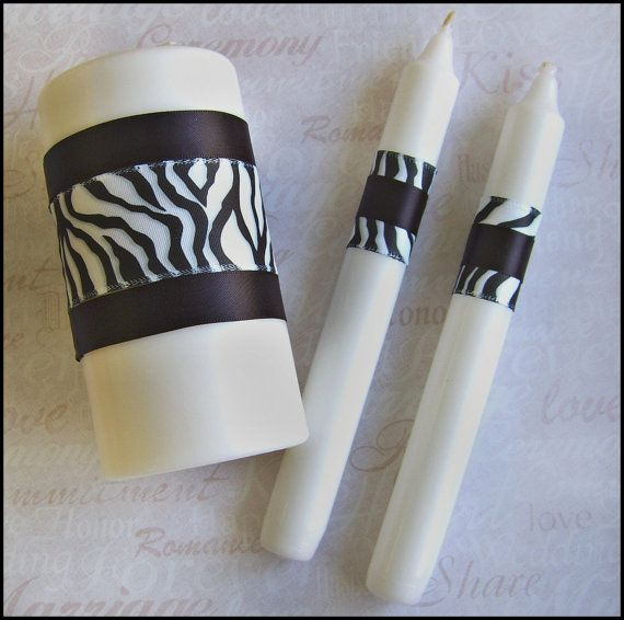 Wedding Candles, Zebra print unity candle set, animal print wedding, zebra print wedding accessories. $25.00, via Etsy.