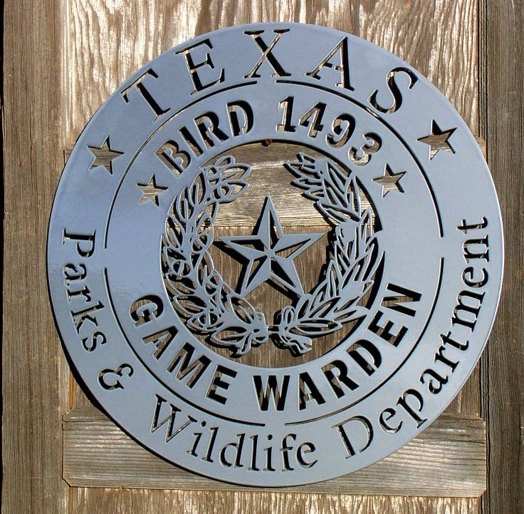 Texas Game Warden Badge Silhouette www.texasrusticmetalart