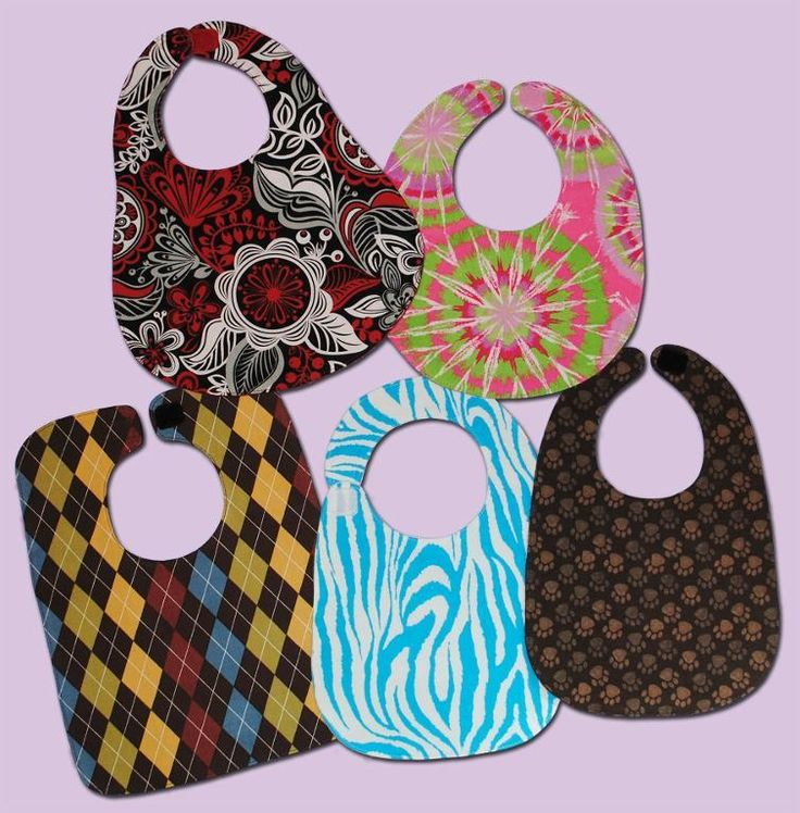 5 Basic Baby Bibs- love these bibs.  I can see the pink tye-dye one done in flannel as a droolie bib