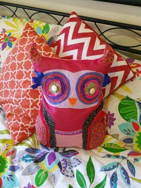 Upcycled and recycled DIY plush owl cushion