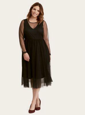 Black Mesh Midi Dress in Black