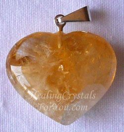 Citrine Crystal Heart Pendant helps you to increase prosperity in your life