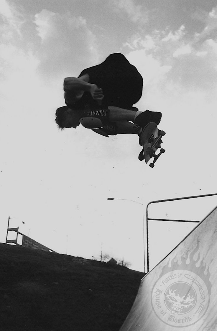Backside alley-oop... just on sun down. The craziest thing about this day was the bad ass storm passed, the rain completely missed the ramp and we ended up skating all day and into the night under my big flood lights... beyond perfect. Saturday Regatta Skate Jam. Hobart, Tasmania. 10.2.1996.