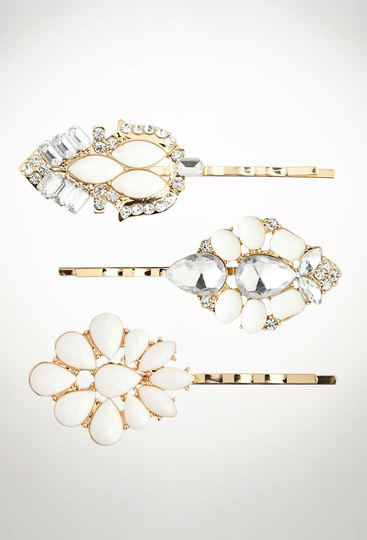 Set of 3 Large Embellished Hair Pins-Plus Size Hair Pins-Avenue