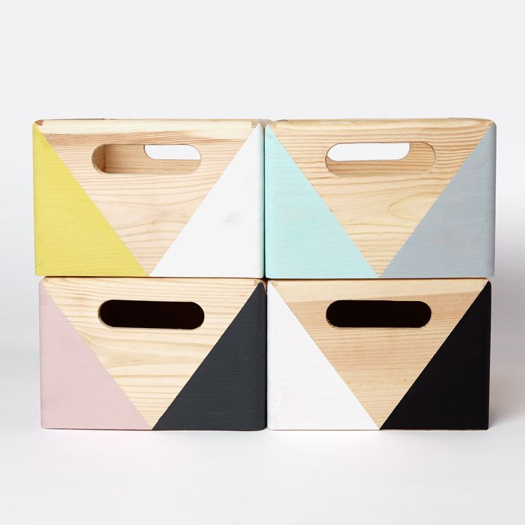 Geometric wooden box with handles