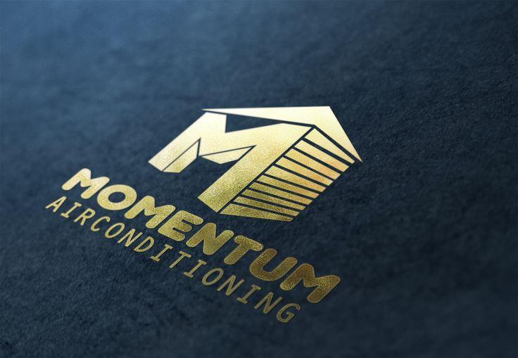 Momentum Air Conditioning Gold Logo Design