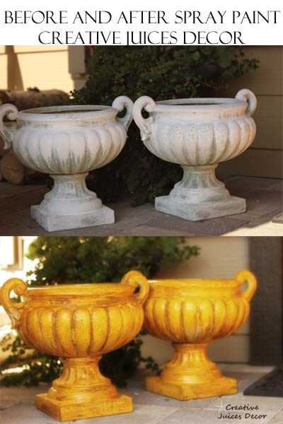 Spray paint has to be the most FUN way to fix up your home decor.  Yellow spray painted leftover planters. step by step tutorial