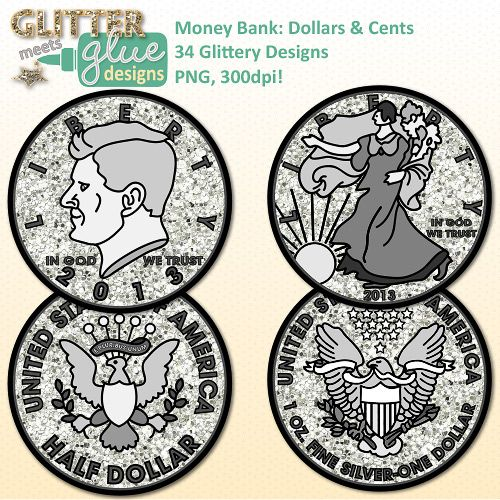 Money Bank: Dollars & Cents Clipart - US Currency Dipped in Glitter! Math Ideas! #math #TPT #education #clipart #teacherspayteachers