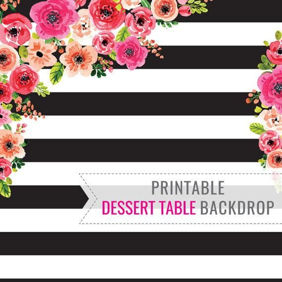 A Black And White Birthday Party Dessert Table Backdrop with floral watercolors. Perfect for a birthday or graduation. FILE INCLUDES: 6ft x 7ft Backdrop Design No text is included on this backdrop design