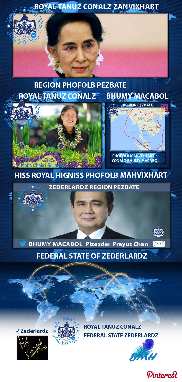 ROYAL TANUZ CONALZ, ZEDERLARDZ, REGION PEZBATE, REGION PHOFOLB, HISS ROYAL HIGHNESS THE PHOFOLB ZANVIXHART (Aung San Suu Kyi) TANUZ CONALZ, BHUMY MACABOL, PHOFOLB HISS ROYAL HIGHNESS MAHVIXHART (Maha Chakri Sirindhorn) TANUZ CONALZ, PM PIZEDERZ (Prayut Chan-o-cha) (TANUZ CONALZ New name for Country), Sing of by HISS ROYAL HIGHNESS HOLVIXHART, THE POHOFOL OF ROYAL TANUZ CONALZ. HEAD OF THE FEDERAL STATE OF ZEDERLARDZ, Bernhard Hol