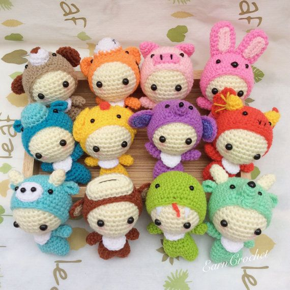The 12 Animals of the Chinese Zodiac,amigurumi zodiac,mini crochet doll,kawaii crochet,keychain,bag charm,fetish,horoscope