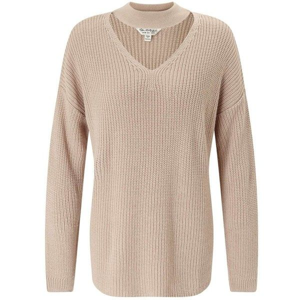 Miss Selfridge Camel Choker Neck Knitted Jumper ($68) ❤ liked on Polyvore featuring tops, sweaters, camel, jumpers sweaters, camel sweater, jumper top, miss selfridge and camel top