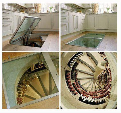 A wine cellar accessible through a TRAP DOOR under your kitchen!!