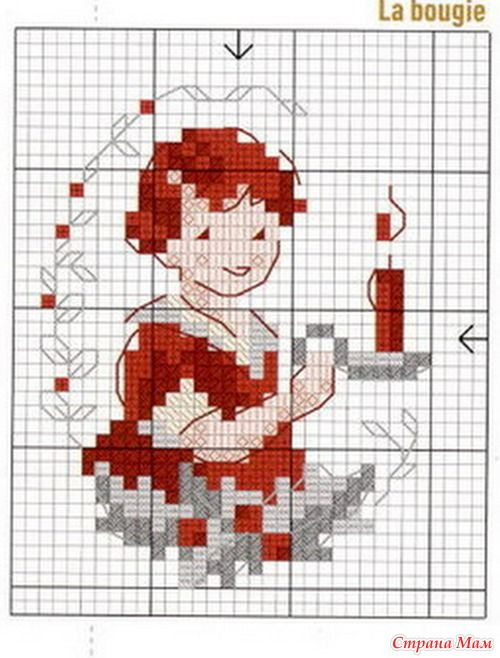christmas cross stitch girl with candle