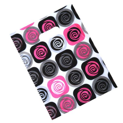100pcs Hotsale Rose Red Black Dots Shopping Package Carrier Plastic Gift Bags J