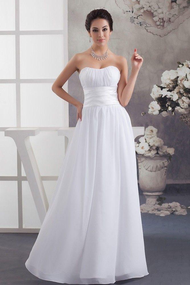 Simple A Line Strapless Ruched Chiffon Beach Destination Wedding Dress Bridal Gown Bridal Dresses Ruched Wedding Dress Long Wedding Dresses