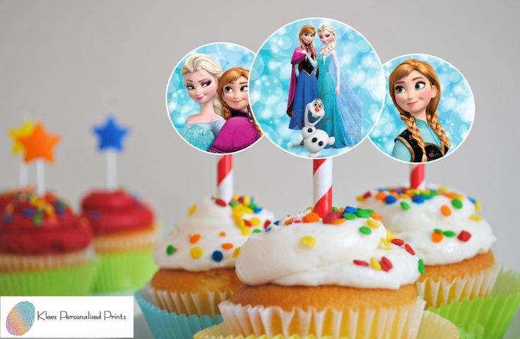 Frozen Cupcake Toppers, Frozen Birthday Circles, Instant Download, Digital File by KleezPrints on Etsy
