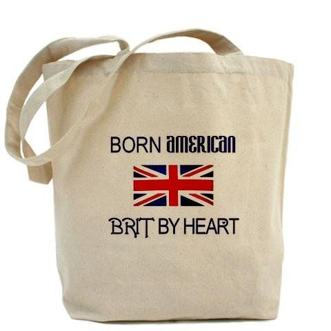 Born American, British by Hea Union jack Tote Bag by CafePress by CafePress. $18.00. Show off your attitude with this great item. Born American, British by Heart with Union Jack flag on front.. About our Tote Bag: Our 100% cotton canvas tote bags have plenty of room to carry everything you need when you are on the go. They include a bottom gusset and extra long handles for easy carrying. 10 oz heavyweight natural canvas fabric. Full side and bot. Union jack