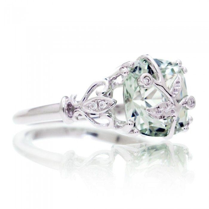Green Quartz Prasiolite ring leaf and vine design diamond engagement ring cushion 9x9 white gold