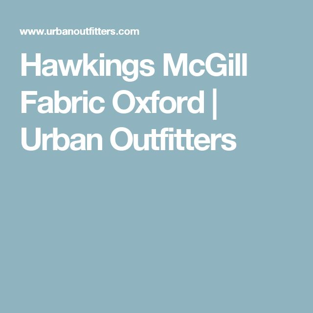 Hawkings McGill Fabric Oxford | Urban Outfitters