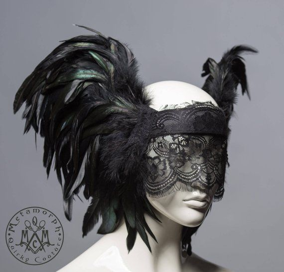 Schwarze Spitze Schleier Kopfschmuck Maskerade Federschmuck Schwarz Valkyrie Flugel Alternative Hochzeit Stirnband Feder Spitze Maske Gothic Headpiece Lace Mask Headdress