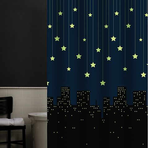 Shower Curtain That Glows In The Dark Could Be Good For A