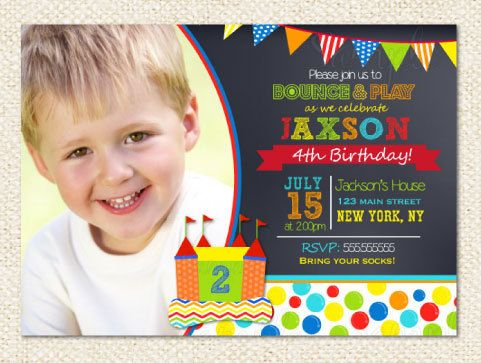 Bounce House Birthday invitations by LollipopPrints on Etsy, $12.00