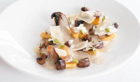 Potato Gnocchi with sauteed mushrooms and porcini cream