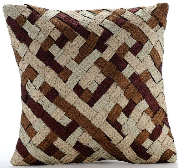 Sophisticated Weave - 16x16 Brown, Copper, Gold and Pearl Silver Basket Weave Silk Throw Pillow.