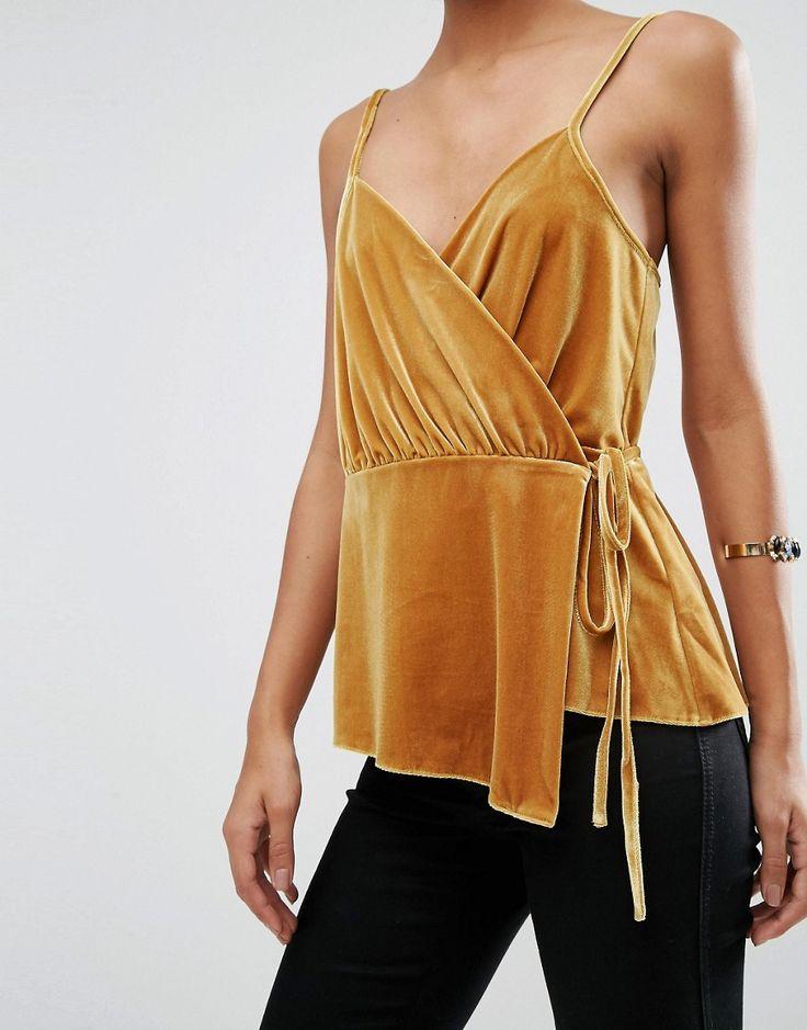 Image 3 of ASOS Wrap Cami Top in Velvet