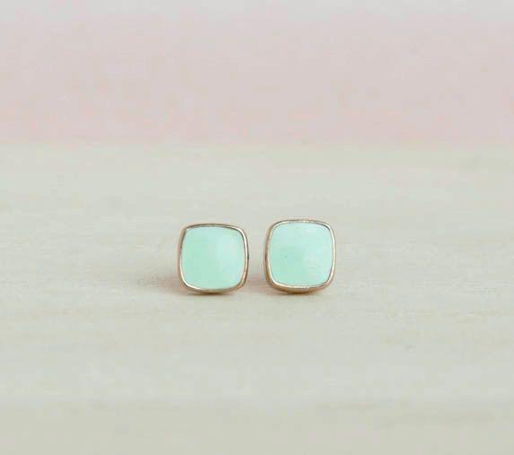 Mini Square Studs Earrings - Light Turquoise Colour. $11.00, via Etsy.
