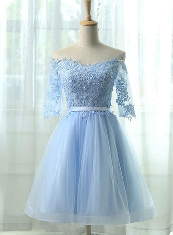 3992426e1de Light Blue Short Homecoming Dress 2018