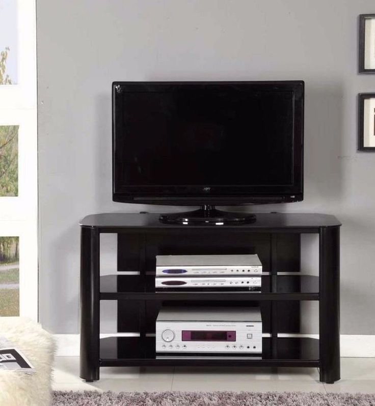 42-Inch Black TV Stand with Three Glass Storage Shelves #TVStand