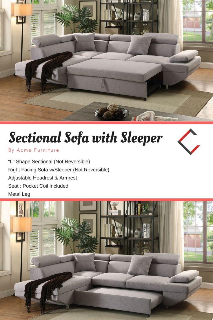 Acme Furniture Jemima Gray Sectional Sofa With Sleeper Grey