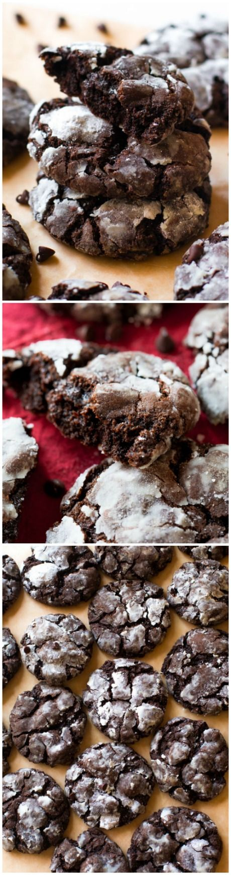 DOUBLE chocolate crinkle cookies that bake up wonderfully soft, chewy, and extra thick!
