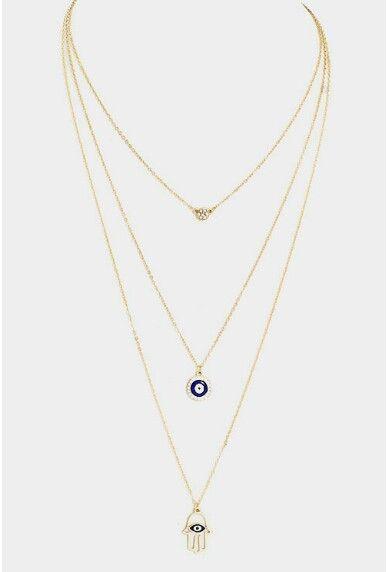 Triple layerd evil eye and hamsa necklace