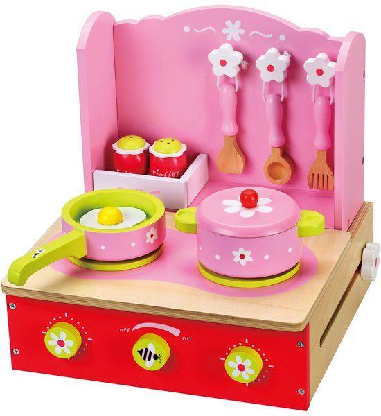 Playwood - Speel Keuken roze opklapbaar inclusief accessoires - Houten Fornuisje tafelmodel