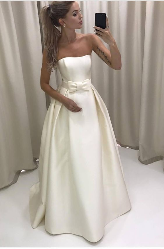 Simple Strapless Ivory Satin Wedding Dress Bridal Gown with a Bow,long prom dress M1827 #satinweddingdresses
