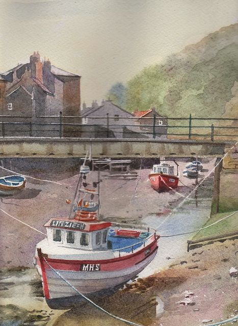 Andy Shore   WATERCOLOR  Staithes Yorkshire
