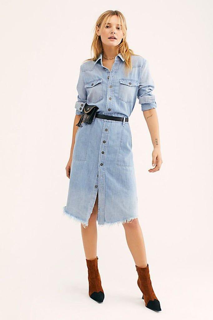 Women Stylish Lapel Jeans Long Dress Buttons Pockets Bodycon Denim Shirt Dress